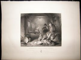 After Landseer C1840 LG Folio Steel Engraving. Interior of a Highland Cottage